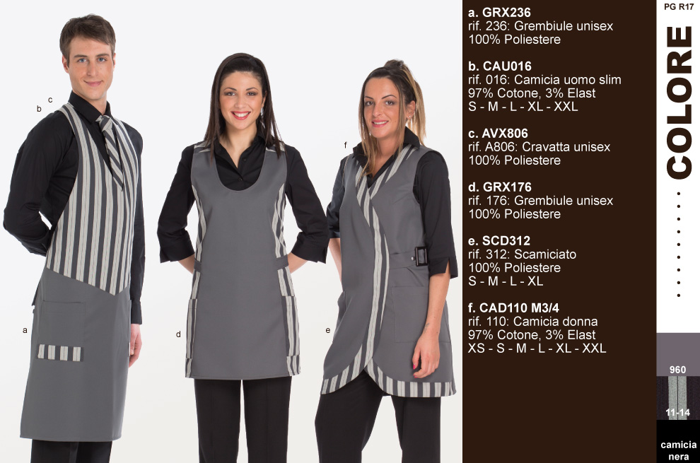 Divise hostess ricevimento - Creativity clothingsxwork Grembiule o  scamiciato in tessuto rigato. Abbigliamento ristorante bar champagnerie. 6f12bb9f04a4