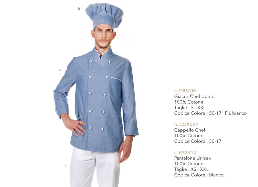 3f8debbe0a Abbigliamento professionale Chef cuoco ristornate: giacche pantaloni ...