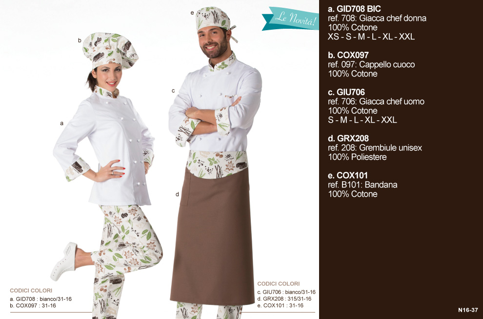 ‐Creativity‐Abbigliamento per cuochi, divise per Chef, uniformi per Catering.