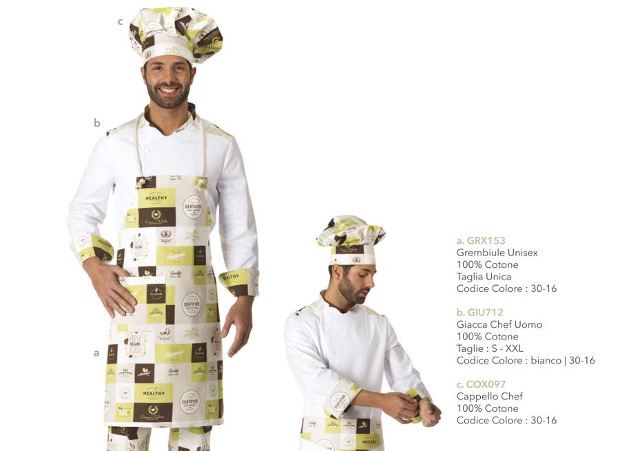 Abbigliamento cucina ristorante trattoria. Grembiule giacca pantalone  cappello. c072e827061c