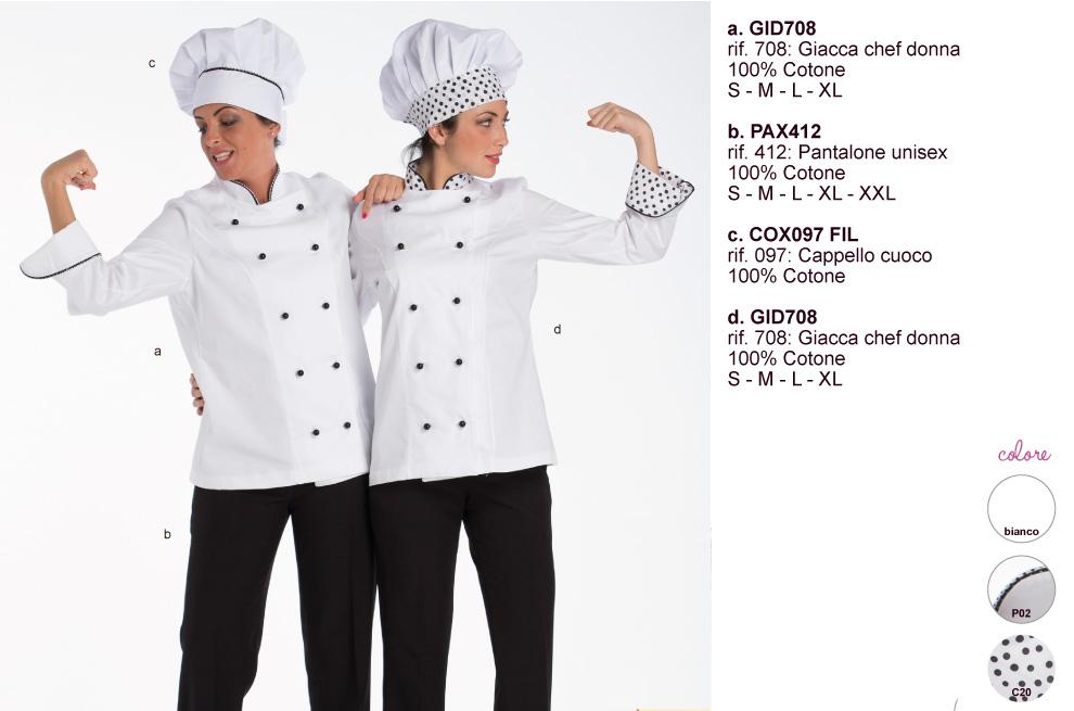 Grembiuli giacche pantaloni cuoco e uniformi maitre patissier.