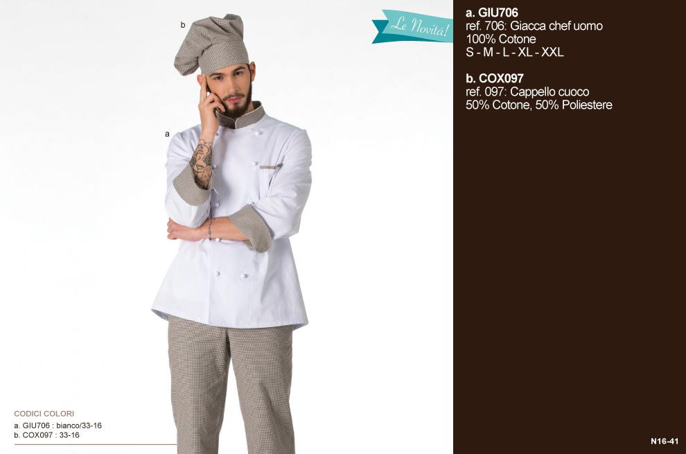 Giacca pantalone cappello magliette cuoco Chef ristorante.