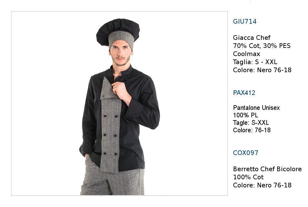 Abbigliamento professionale Chef cuoco ristornate  giacche pantaloni ... 104639f7fc33