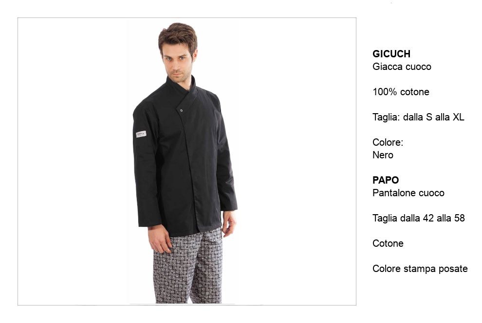 ‐Creativity‐giacca e pantalone da cuoco Made in Italy.