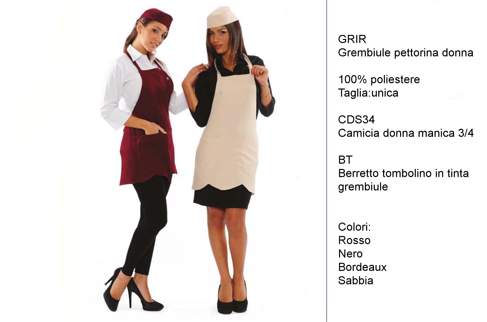 Grembiule-gelateria-Made-in-Italy a pettorina, rifinito con cappette, abbinato ad una camiciain cotone o semplice T-shirt.