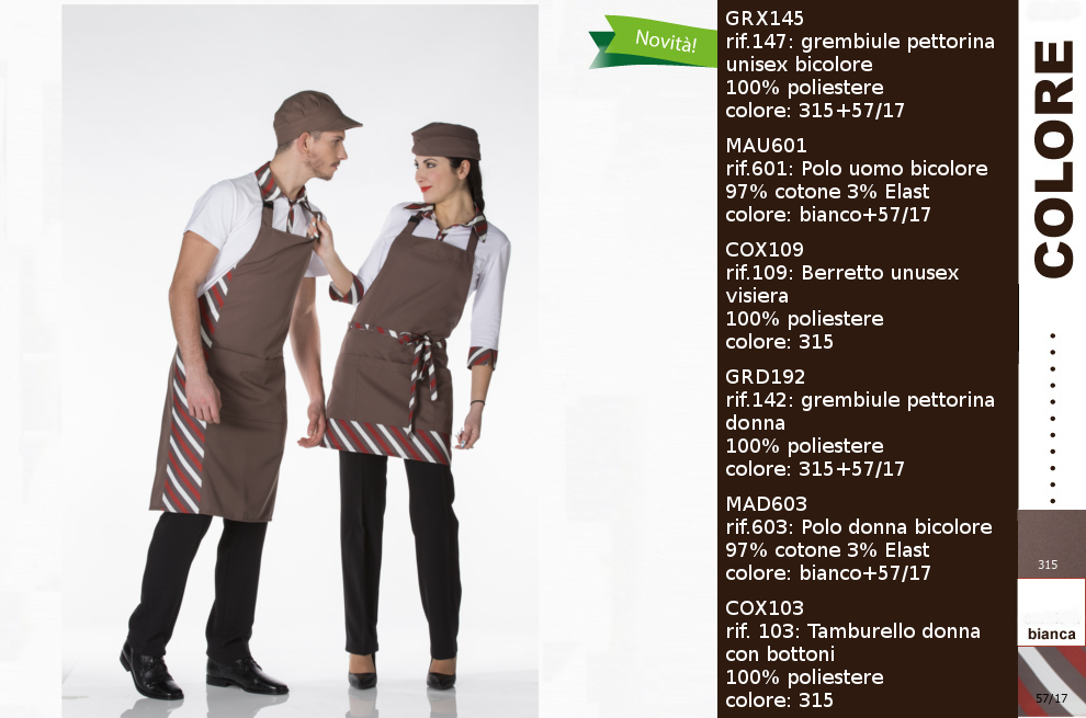 abiti professionali per bar bianco-gelateria-pasticceria-caffetteria ‐ Creativity clothingsxwork ‐