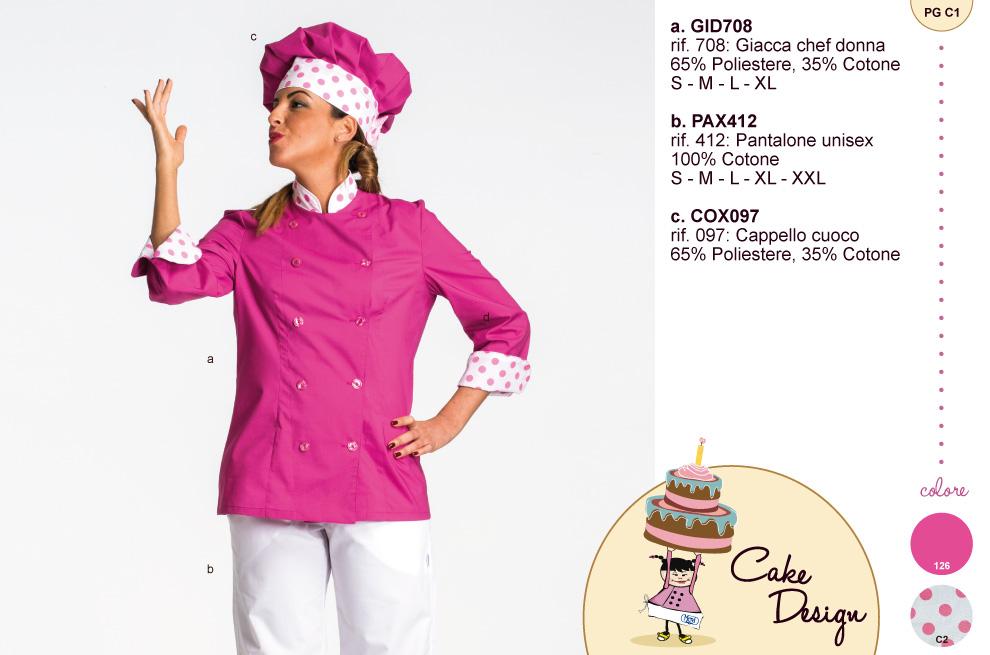Giacca donna per pasticceria cake design con risvolto maniche e bordo collo a pois.