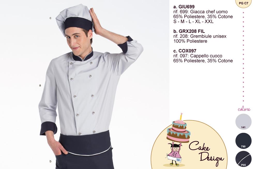 Giacca uomo cake designer abbinata a grembiule in abbinata von il risvolto delle maniche, il bordo collo e la fascia del cappello.