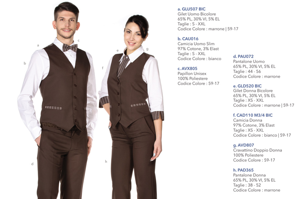 Divise camerieri e cameriere ‐ Creativity clothingsxwork ‐