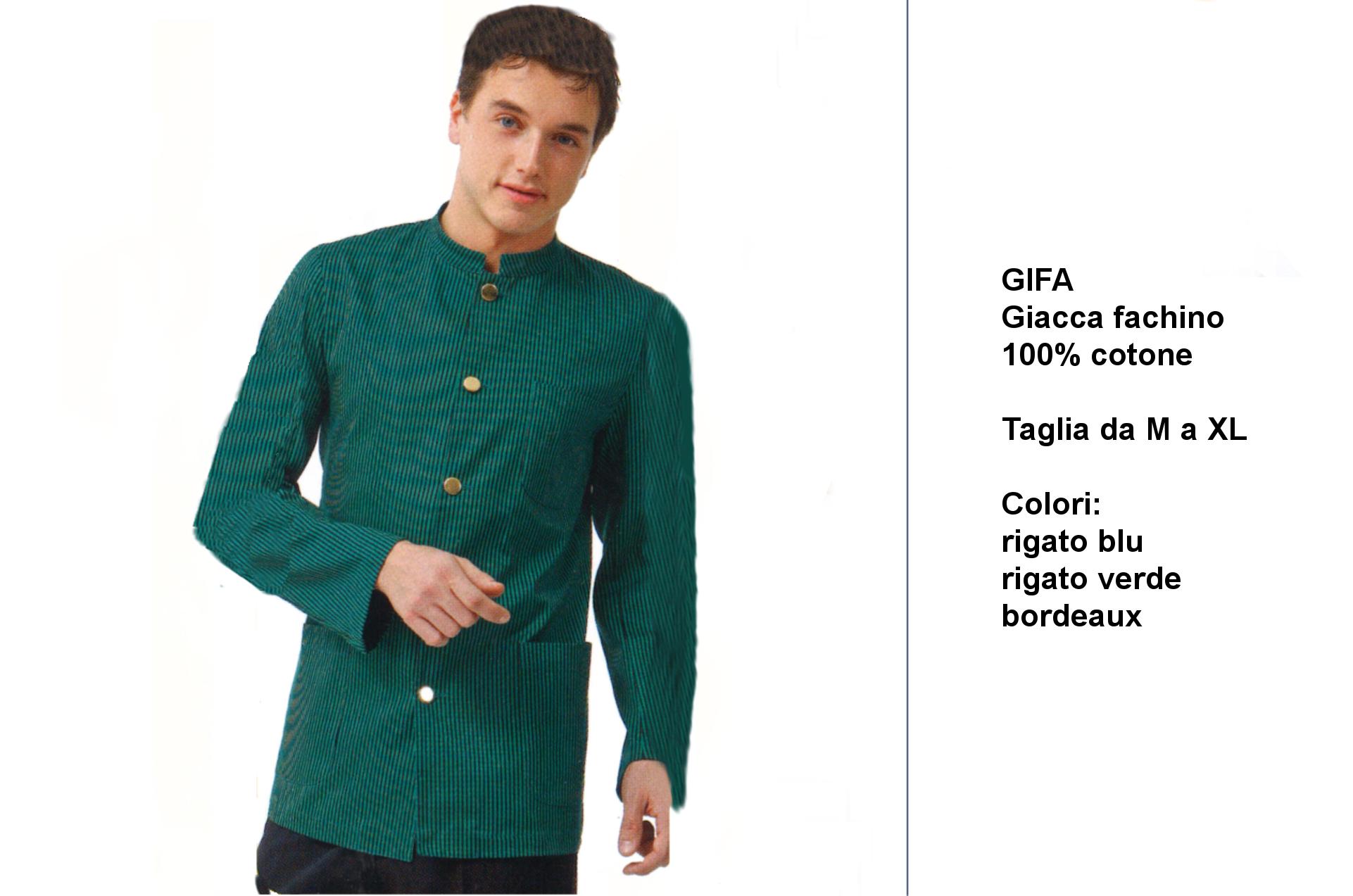 Creativity abiti per baristi-camerieri  receptionist-hostess-barman-barmaid-waiters- La giacca da facchino in rigato  verde ... 7a55a270c81